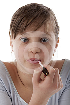 Beautiful Girl With Lipstick Stock Photography - Image: 24287802