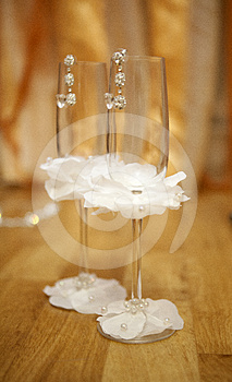 Pair Empty Decorated Wineglasses Stock Images - Image: 24287964