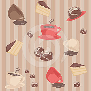 Seamless Pattern With Coffee Cups And Cakes Royalty Free Stock Photography - Image: 24293217