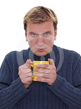 Man With Cup Of Hot Drink Royalty Free Stock Photography - Image: 24293737