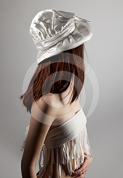 Anonymous Woman In White Hat And Top Royalty Free Stock Photo - Image: 24299935