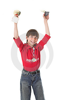 Boy Winning In Competition Stock Photography - Image: 2430032