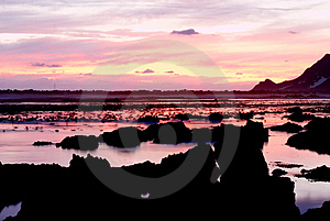 Ocean landscape at sunset Stock Images