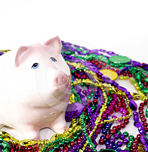 Mardi Gras Piggy Bank Royalty Free Stock Photo - Image: 24309215