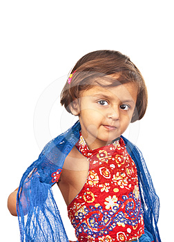 Asian Girl In Traditional  Blue Dress Stock Image - Image: 24316681