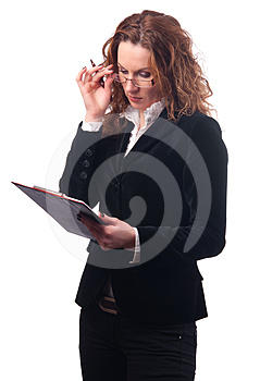 Elegant Business Woman Looking At Documents Stock Photo - Image: 24324070
