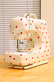 Retro Polka Dot Sewing Machine Stock Images - Image: 24351844