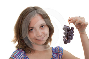 Girl With Cluster Of Grapes Stock Photography - Image: 24370562