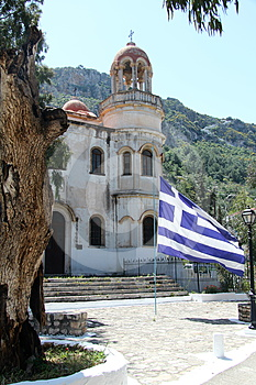 Greek Church With Flag Stock Image - Image: 24382431