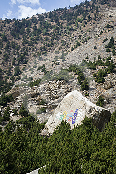 Stone With Mantras In Himalaya Mountains Royalty Free Stock Photos - Image: 24388238