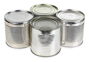 Metal tins of food