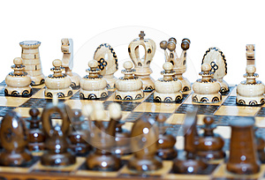 Chess Board Focus To White King And Queen Stock Photography - Image: 24393032
