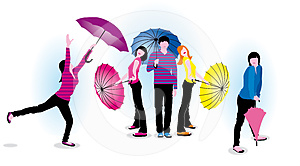 Young People With Umbrellas Royalty Free Stock Images - Image: 24402839