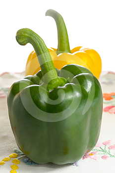Sweet Peppers On Embroidered Tablecloth Stock Photo - Image: 24403780