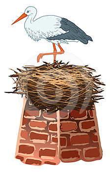 Stork And Nest Royalty Free Stock Image - Image: 24427686