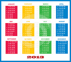 2013 Calendar Template Colorful Stock Photos - Image: 24428243