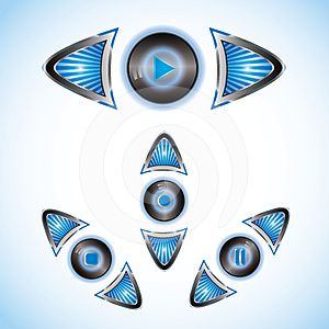 Blue Shining Striped Play Buttons With Arrows Stock Photo - Image: 24444330