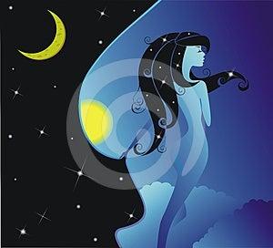 Night Girl Royalty Free Stock Image - Image: 24445176