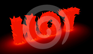 Burning Hot Word In Red Stock Photos - Image: 24458913
