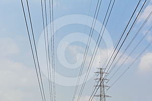 High Voltage Electrical Power Wire And Post Stock Photos - Image: 24469543