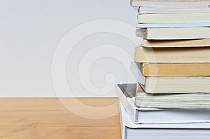 Part Of Paper Book Stack On Wood Table Stock Photo - Image: 24469800
