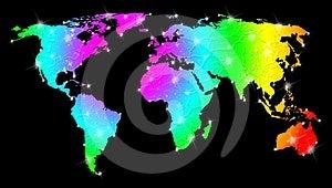 Rainbow Bright World Map Stock Photography - Image: 24473862