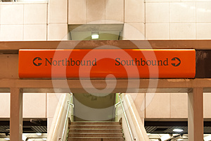 Directional Sign In A Subway Stock Photos - Image: 24498253