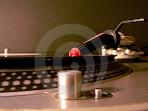 Dj turntable needle on record Stock Image