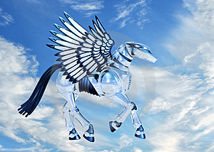 Chrome Pegasus In Sky Royalty Free Stock Image - Image: 2459706