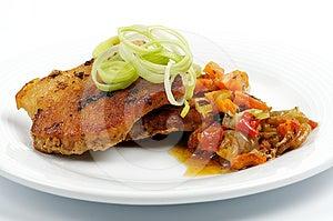 Pork Steak With Vegetables Royalty Free Stock Photos - Image: 24511088