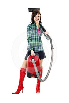 Girl Standing With Vacuum Cleaner Royalty Free Stock Images - Image: 24513799