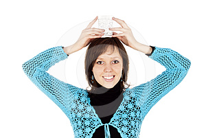 Girl Keeps On Her Head A Glass Of Water Stock Image - Image: 24513971