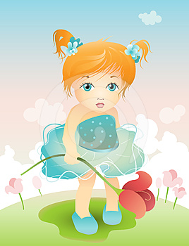 Girl With Tulip Royalty Free Stock Image - Image: 24515596