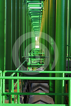 Geometries Of Green Pipes Stock Images - Image: 24524474