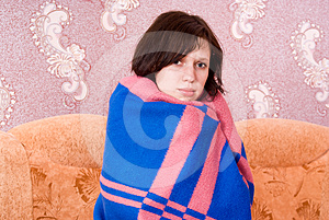 Girl Is Covered With A Blanket Royalty Free Stock Photo - Image: 24538735