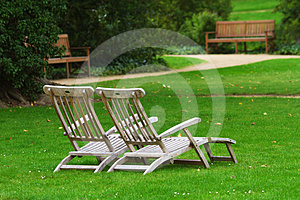 Two Deckchairs In A Park Stock Photography - Image: 24553742
