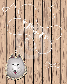 Wooden Card With Dog Dreaming About Food Royalty Free Stock Photography - Image: 24573767
