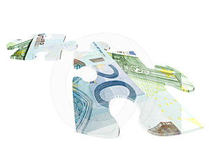 Two Pieces Of Euro Banknotes Puzzle Royalty Free Stock Photos - Image: 24589528
