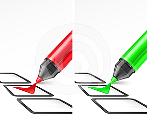 Green And Red Markers With Check Mark Royalty Free Stock Photography - Image: 24591067