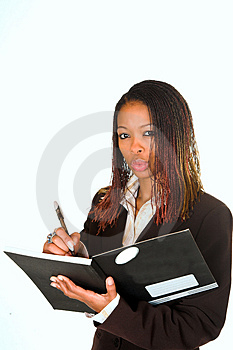 Lady Writing In Notebook Royalty Free Stock Image - Image: 2461016