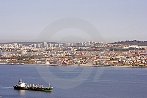 Cargoship On Tagus In Portugal Stock Images - Image: 2461884