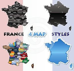 France Map Set Royalty Free Stock Photos - Image: 24613638