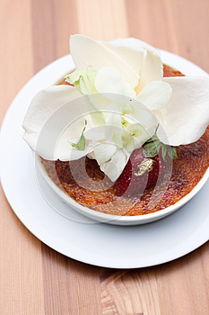 Creme Brulee Decorate With White Petals Stock Image - Image: 24629731