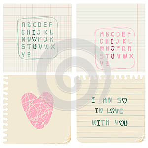 Set Of Hand-written LOVE CARDS Royalty Free Stock Image - Image: 24663786