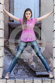 Young Woman In Window Opening Royalty Free Stock Photos - Image: 24687818
