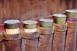 Shotgun Shells In A Belt Royalty Free Stock Images - Image: 2474819