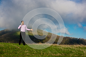 Man With Telephone Royalty Free Stock Photography - Image: 24714337