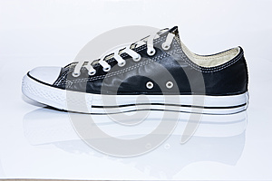 Black Leather Sneaker On White Background Royalty Free Stock Images - Image: 24723949