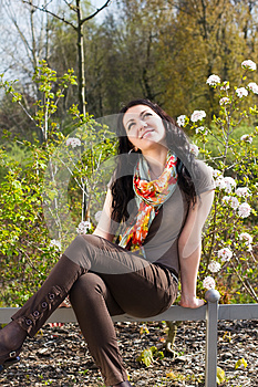 Carefree Young Woman In Park Stock Images - Image: 24735364