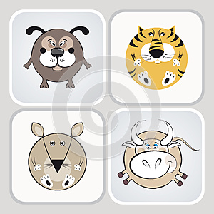 Cat, Dog, Mouse And Cow Icons Stock Photography - Image: 24741482